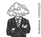 cloud head businessman sketch... | Shutterstock . vector #1351021223