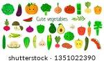kawai cute vegetables and herbs ... | Shutterstock .eps vector #1351022390