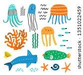 cute vector set of children's... | Shutterstock .eps vector #1351022459