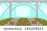 strawberry plantation in... | Shutterstock .eps vector #1351039613