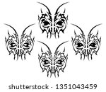 abstract insect heads tattoo... | Shutterstock .eps vector #1351043459