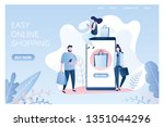big smartphone with shopping... | Shutterstock .eps vector #1351044296