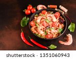 tasty pasta with shrimp and... | Shutterstock . vector #1351060943