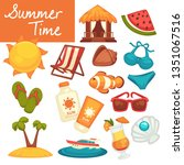 vacation and holidays beach... | Shutterstock .eps vector #1351067516
