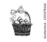 decorative wicker basket with... | Shutterstock .eps vector #1351078166