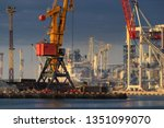 lifting cargo cranes  ships and ... | Shutterstock . vector #1351099070