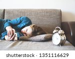 young woman using phone in bed  ... | Shutterstock . vector #1351116629