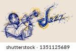 illustration for jazz poster.... | Shutterstock . vector #1351125689