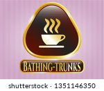 shiny badge with coffee cup... | Shutterstock .eps vector #1351146350