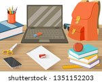 student tables with books and... | Shutterstock .eps vector #1351152203