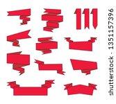 set of red cartoon ribbons.... | Shutterstock . vector #1351157396