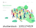 landing page template with... | Shutterstock .eps vector #1351174529