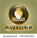 gold shiny emblem with ship...   Shutterstock .eps vector #1351182203