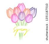 flower bouquet flower tulips on ... | Shutterstock .eps vector #1351187510
