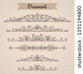 collection of hand drawn... | Shutterstock .eps vector #1351194800