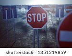 many prohibition signs  3d... | Shutterstock . vector #1351219859