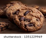 chocolate chip  cookies on... | Shutterstock . vector #1351229969