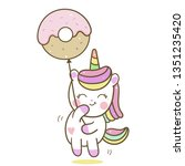 Stock vector cute unicorn vector love donut balloon cartoon pastel color white background kawaii pony cartoon 1351235420
