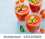 delicious gaspacho soup in... | Shutterstock . vector #1351242833