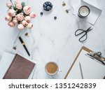 top view of female home office... | Shutterstock . vector #1351242839