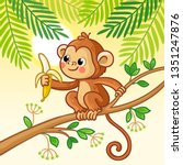 monkey sits on a tree and eats...   Shutterstock .eps vector #1351247876