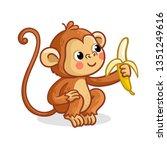 the monkey on a white...   Shutterstock .eps vector #1351249616
