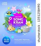 happy amazing songkran festival ... | Shutterstock .eps vector #1351258490