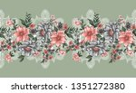 seamless lace and flower border | Shutterstock .eps vector #1351272380