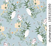 blossom floral seamless pattern.... | Shutterstock .eps vector #1351311050