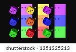 rainbow color dice  3d... | Shutterstock . vector #1351325213