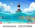 Vector Cartoon Lighthouse Sea...
