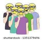 people keep a smile on their... | Shutterstock .eps vector #1351379696