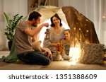 family  hygge and people... | Shutterstock . vector #1351388609
