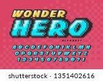 pixel vector font design  super ... | Shutterstock .eps vector #1351402616