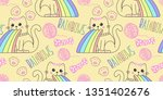 seamless pattern with cute cat... | Shutterstock .eps vector #1351402676