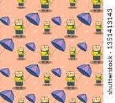 seamless pattern  cute cartoon...   Shutterstock .eps vector #1351413143