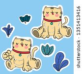 cute cat vector design. sticker   Shutterstock .eps vector #1351413416