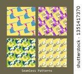 seamless patterns set | Shutterstock . vector #1351417370