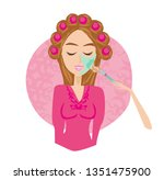 woman having beauty treatments... | Shutterstock . vector #1351475900