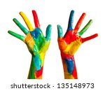 painted hands  colorful fun.... | Shutterstock . vector #135148973
