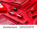 woman red accessories  jewelry  ... | Shutterstock . vector #1351523570