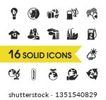 environment icons set with care ...