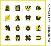 medicine icons set with woman...