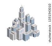 isometric city building....   Shutterstock . vector #1351543010