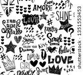 black and white seamless... | Shutterstock .eps vector #1351553453