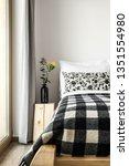 interior bedroom bed blanket... | Shutterstock . vector #1351554980