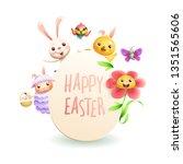 easter greeting card   animal...   Shutterstock .eps vector #1351565606