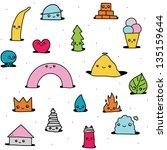 cute hand drawn cartoon pattern   Shutterstock .eps vector #135159644