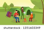 parents with son sitting near... | Shutterstock .eps vector #1351603349