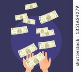money fall in hand vector... | Shutterstock .eps vector #1351634279